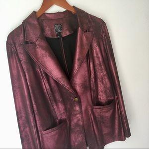 Clara Sun Woo Liquid Leather Metallic Blazer